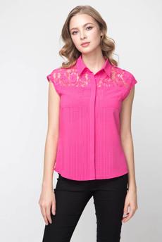 Блузка без рукавов с кружевными вставками на плечах Marimay