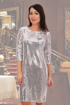 Блестящее платье молочного цвета Натали